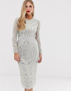 Read more about Asos edition sequin and pearl midi bodycon dress with cut out back