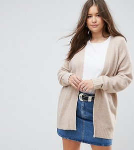 Read more about Asos curve chunky knit cardigan in wool mix - oatmeal