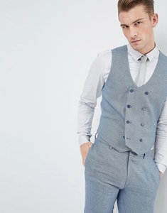 Read more about Asos design wedding skinny suit waistcoat in airforce blue micro texture - blue