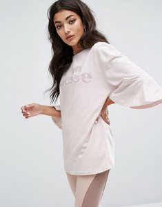 Read more about Ellesse oversized t-shirt with frill sleeves and tonal logo - grey lilac