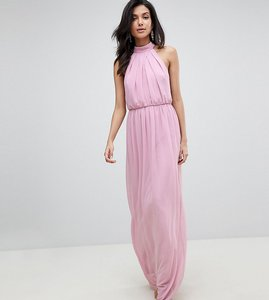 Read more about Asos design tall chiffon twist maxi dress - dusky pink
