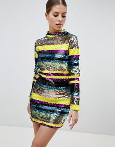 Read more about Club l long sleeve rainbow sequin mini bodycon dress - multi