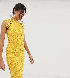 Read more about Chi chi london tall scallop lace pencil dress in yellow