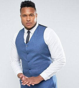 488aebc307a53b Read more about Asos plus wedding slim suit waistcoat in blue tonic - blue