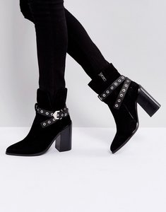 Read more about Sol sana tessa black suede leather heeled ankle boots - black suedes