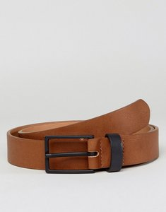 Read more about Asos smart slim belt in faux leather with contrast keeper - tan black