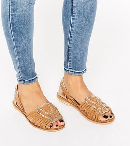 Read more about Asos joel wide fit leather woven summer shoes - tan