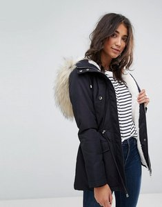 Read more about Miss selfridge faux fur collar parka - navy