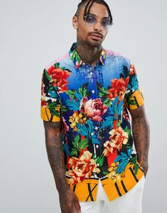 Read more about Asos design regular fit floral scenic print shirt in viscose - multi