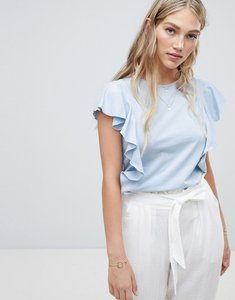 Read more about Vero moda ruffle front t-shirt - cashmere blue
