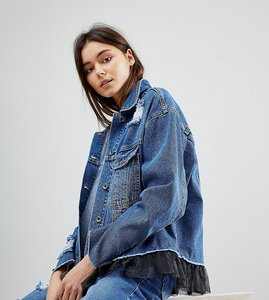 Read more about Kubban tall mesh underlayer oversized denim jacket - worn indigo