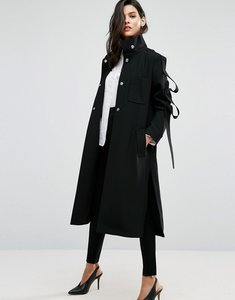 Read more about Asos duster coat with loop sleeve detail - black