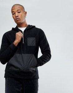 Read more about Asos oversized half zip fleece hoodie with nylon pocket - black
