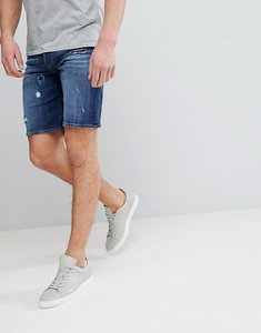 Read more about Diesel bust denim shorts with rip repair details - dark wash 84qt