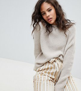 Read more about Asos design tall fluffy jumper in rib - oatmeal