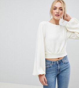 Read more about Fashion union tall bishop sleeve cropped knitted jumper - white