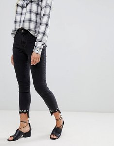 Read more about Glamorous crochet hem skinny jeans - black wash