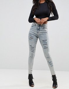 Read more about Asos ridley high waist skinny jeans in nichol light acid wash with shredded rips - nicol light acid