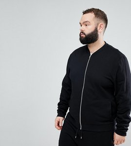 Read more about Asos plus jersey bomber jacket in black - black
