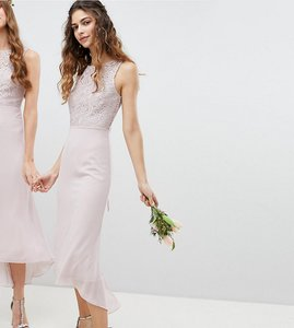 Read more about Tfnc lace up back midi bridesmaid dress - mink