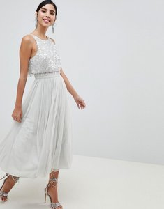 Read more about Asos design tulle prom midi dress with delicate embellished droplets - ice grey