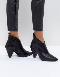 Read more about Kurt geiger black leather western heeled ankle boots - black