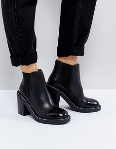 Read more about Asos entail premium leather heeled chelsea boots - black