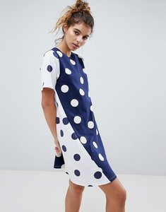 Read more about Asos smock dress with spliced spot print - spot print