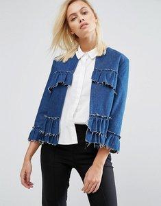 Read more about Helene berman raw edge ruffle jacket - blue denim