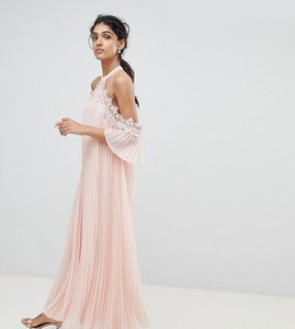 Read more about True decadence tall pleated swing dress with cold shoulder detail - pale peach