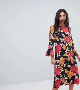 Read more about Asos tall column midi dress in floral print - multi