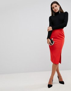 Read more about Asos mix match high waisted pencil skirt with split - red