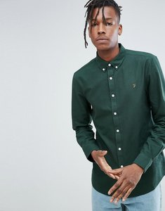 Read more about Farah brewer slim fit oxford shirt in dark green - 309 woodline pine