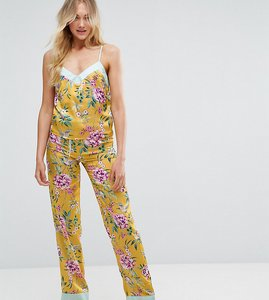 Read more about New look tall floral satin pyjama bottom - yellow pattern