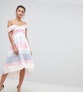 Read more about Asos tall bardot cold shoulder dip back pastel stripe prom dress - multi
