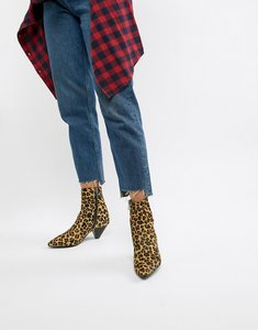 Read more about Bronx leopard print pony pointed heeled ankle boots - leopard