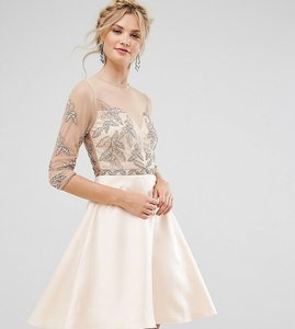 Read more about Maya tall allover embellished mini prom skater dress - pink
