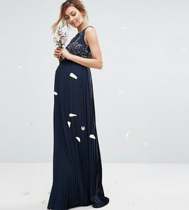 Read more about Maya maternity embellished bodice maxi dress with pleated skirt - navy