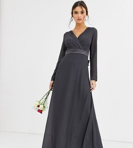 Read more about Tfnc bridesmaid long sleeve maxi dress with satin bow back in grey