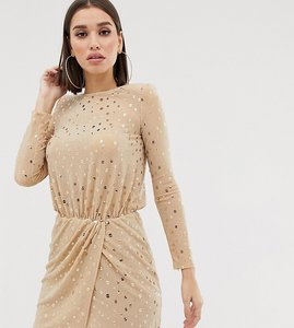 Read more about Flounce london sequin mini dress with shoulder pads in gold - gold