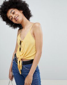 Read more about Bershka tie front cami in yellow - yellow
