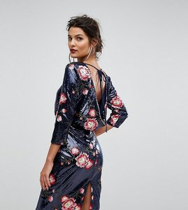 Read more about Tfnc sequin midi dress with floral embroidery and cowl back - navy pink