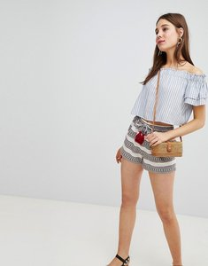 Read more about New look stripe jacquard tassel shorts - white pattern