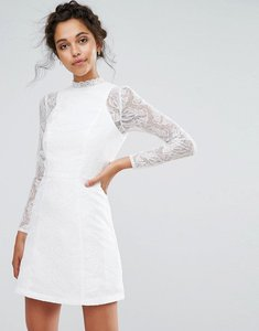 Read more about Chi chi london lace a line mini dress with long sleeves - white