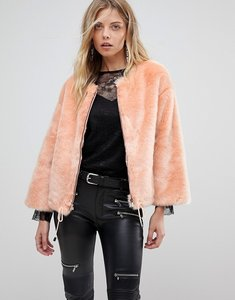Read more about French connection faux fur cropped jacket - peach fizz