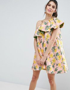 Read more about Asos jacquard ruffle one shoulder floral trapeze mini dress - multi