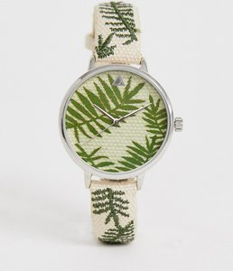 5c41ff46e5ce Read more about Asos design embroidered palm leaf woven watch - straw effect