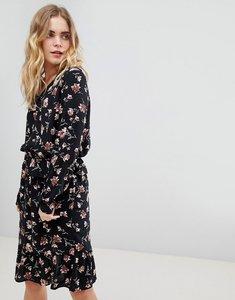Read more about Ichi frill hem floral dress - black