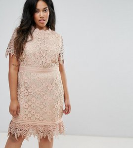 Read more about Truly you contrast lace mini dress with insert trim - pink