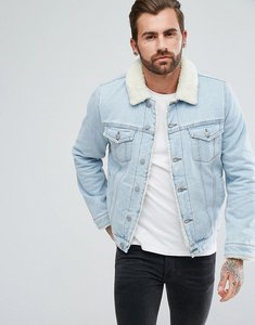 Read more about Asos borg lined denim jacket in light wash - blue